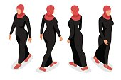 Set of business arab woman character with hijab. Isometric vector people character.