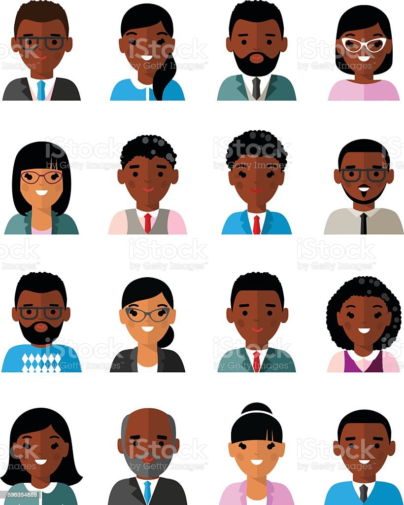 Set of business avatar african american peoples in flat style royalty-free set of business avatar african american peoples in flat style stock vector art & more images of adult