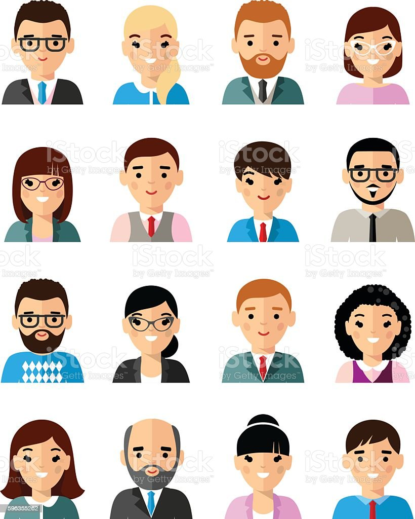 Set of business avatar european peoples in flat style royalty-free set of business avatar european peoples in flat style stock vector art & more images of adult