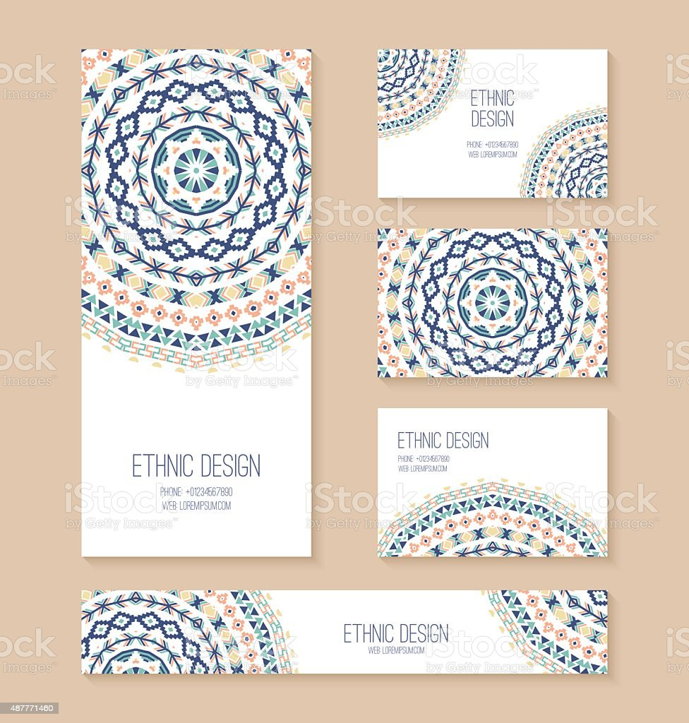 Set Of Business Card Banner Invitation Card Templates Stock