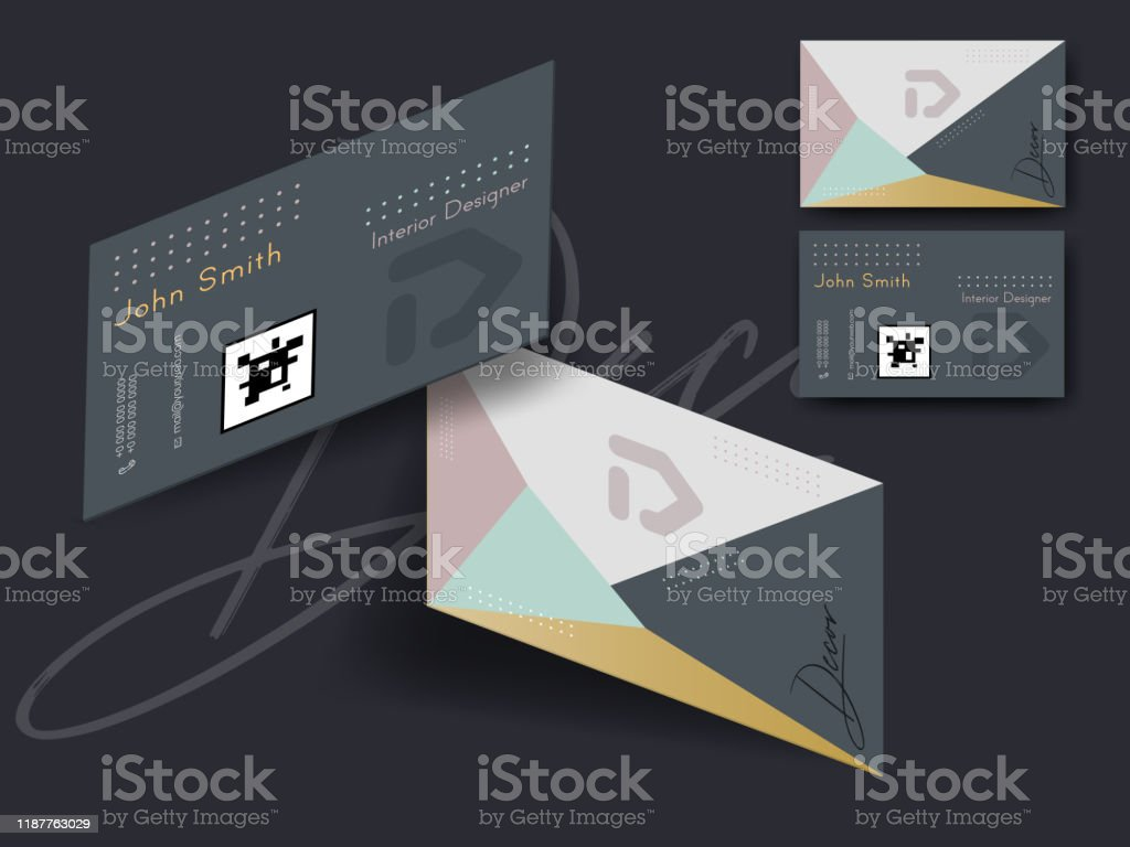 Set Of Business Card Or Horizontal Template Design In Front And Back View For Interior Designer Stock Illustration Download Image Now Istock