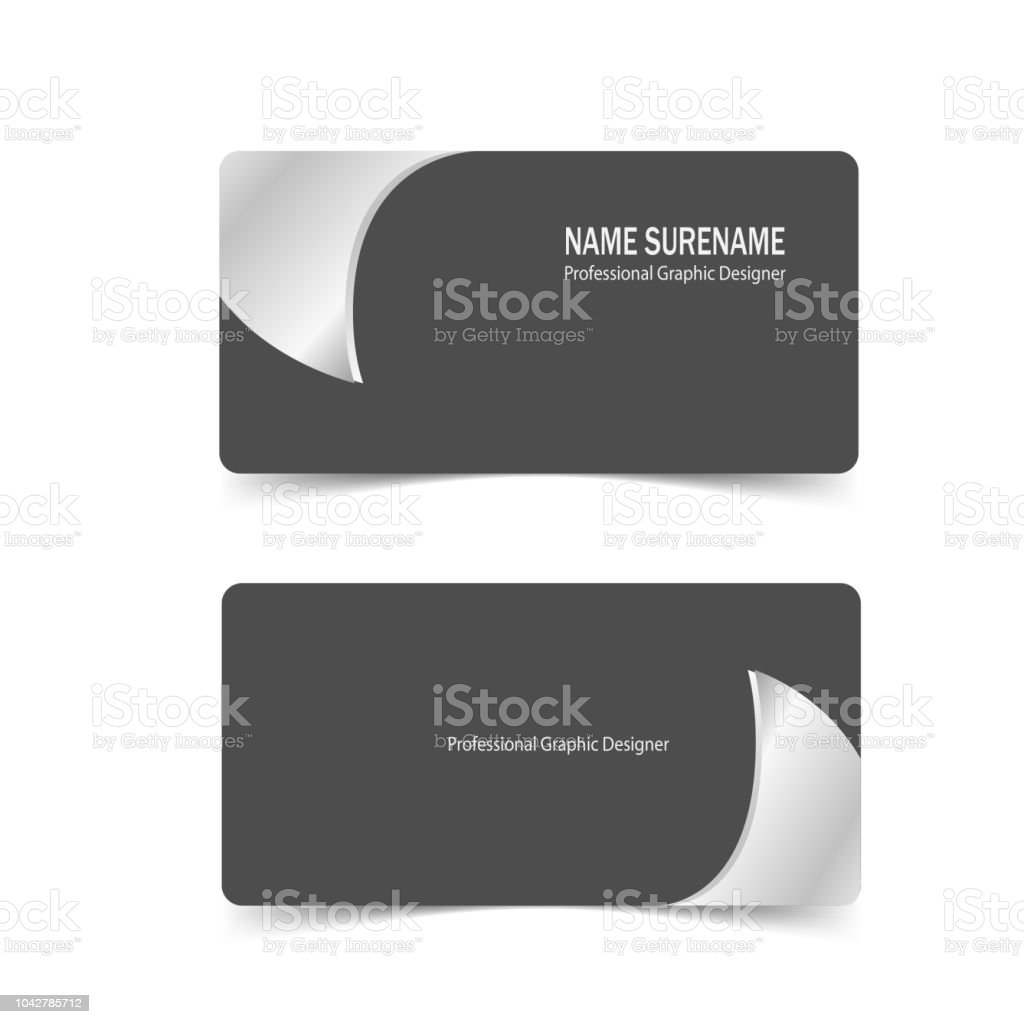 Set of business card template with silver metal design vector stock set of business card template with silver metal design vector royalty free set of business reheart Images