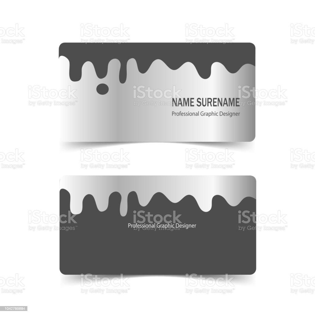 Satz Von Visitenkarte Vorlage Mit Silber Metall Design