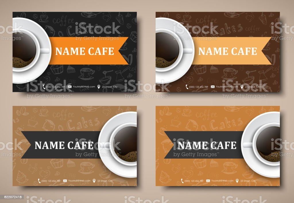 Set of business cards coffee cafes restaurants stock vector art set of business cards coffee cafes restaurants royalty free stock vector art reheart Choice Image