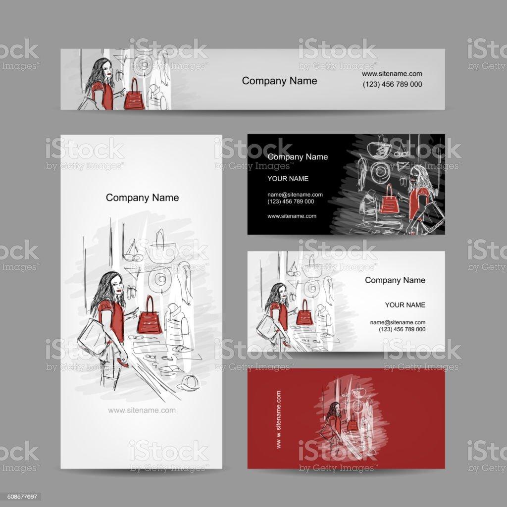 Set of business cards design, girl near the storefront vector art illustration