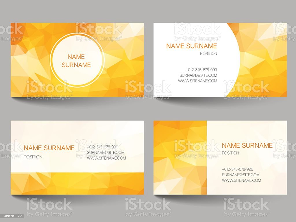 Set Of Business Cards Low Poly Design Stock Vector Art & More ...