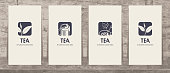 Set of four vector business cards with drawings on the theme of tea. Tea is always a good idea