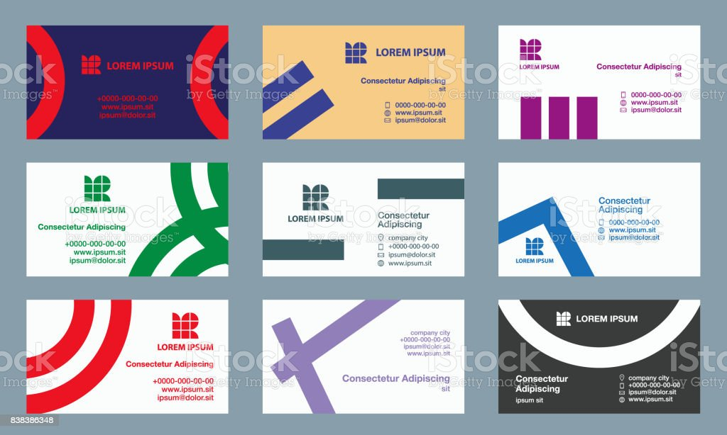 Set of business cards templates modern minimalist lines and circles set of business cards templates modern minimalist lines and circles geometric branding for the business reheart Choice Image