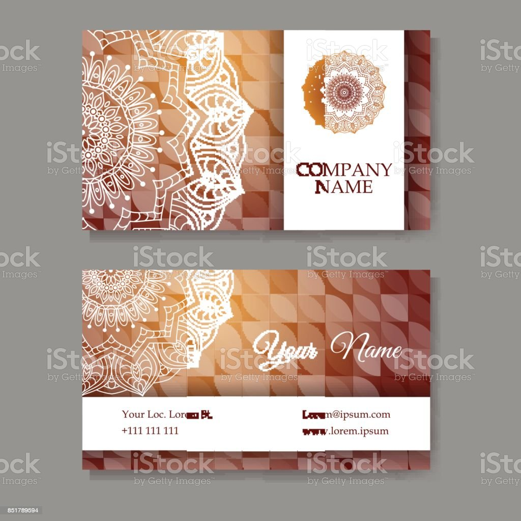 Set Of Business Cards Vintage Pattern In Retro Style With Mandala ...
