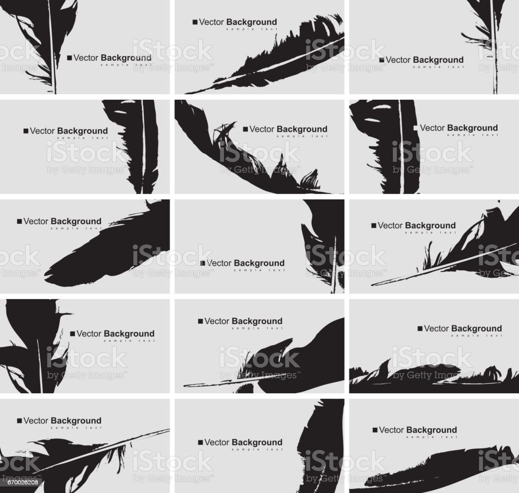 Set of business cards with a bird feather - Illustration vectorielle