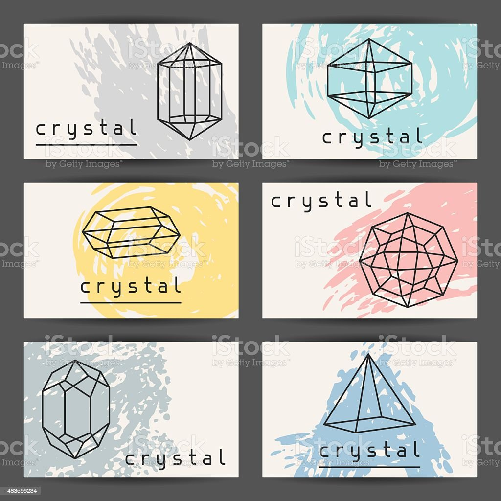 Set of business cards with geometric crystals and minerals stock banner sign commercial sign diamond gemstone gemstone glass material set of business cards magicingreecefo Choice Image