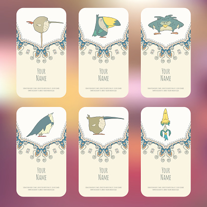 Set of Business cards with hand drawn birds