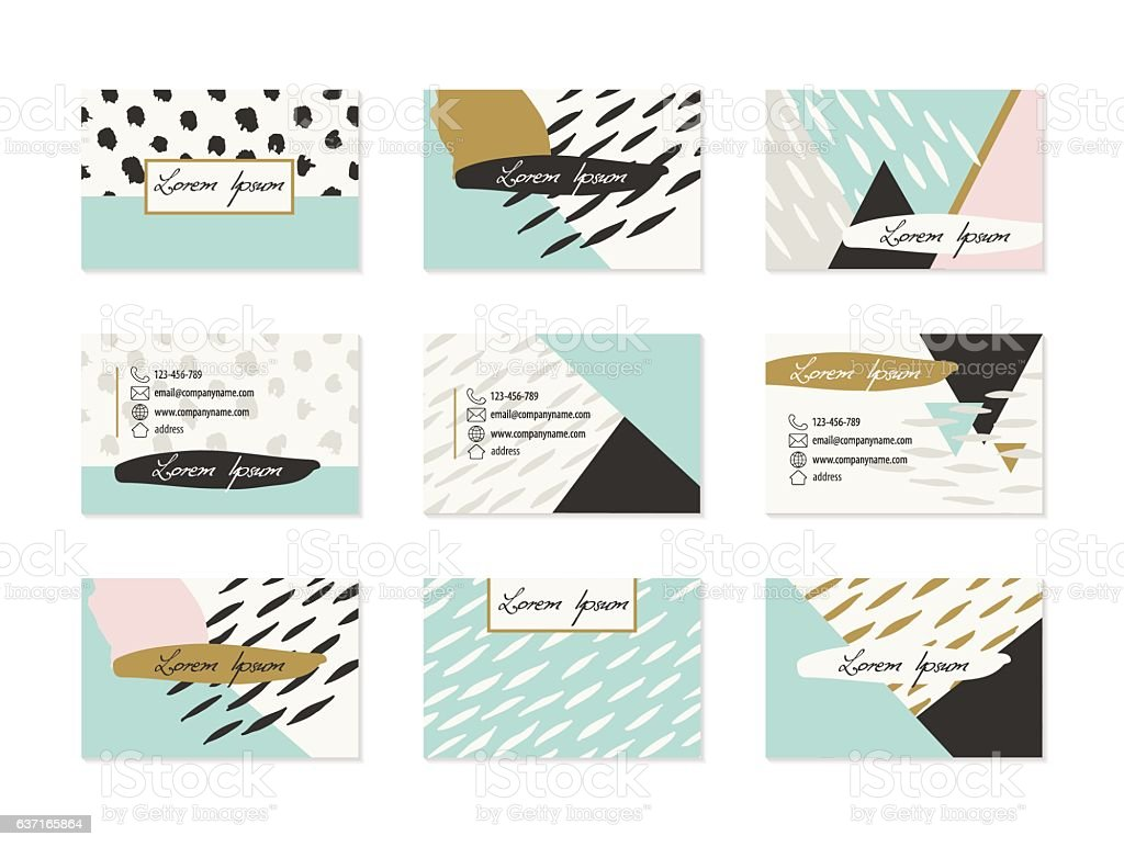Set of Business Cards with hand drawn elements vector art illustration