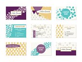 Set of colorful bright Business Cards with hand drawn design elements made with ink in purple, yellow, white and turquoise colors. Modern abstract style for identity design. Vector illustration.
