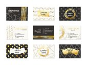 Set of Business Cards with hand drawn design and golden elements. Made with ink in black, white and gold colors. Abstract modern style for identity design with different textures. Vector illustration