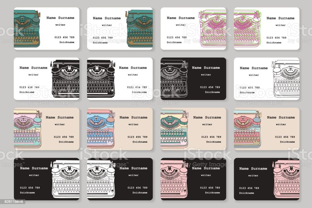 Set of business cards with hand drawn vintage typewriter stock set of business cards with hand drawn vintage typewriter royalty free stock vector art reheart Choice Image