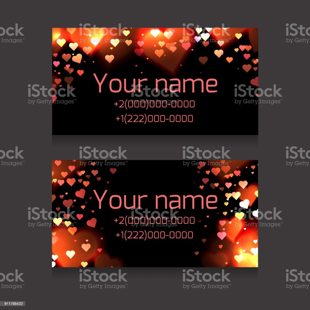 Set Of Business Cards With Sparks And Hearts On A Dark Background ...