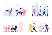 Set of Male and Female Business Characters Communicate in Office, Walking on City Street, Hiring Job and Searching Creative Ideas. People Working Activity, HR Interview. Cartoon Vector Illustration
