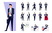 Set of business characters isolated on white background.