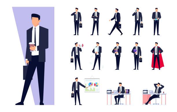 ilustrações, clipart, desenhos animados e ícones de conjunto de caracteres de negócio isolado no fundo branco. - business man