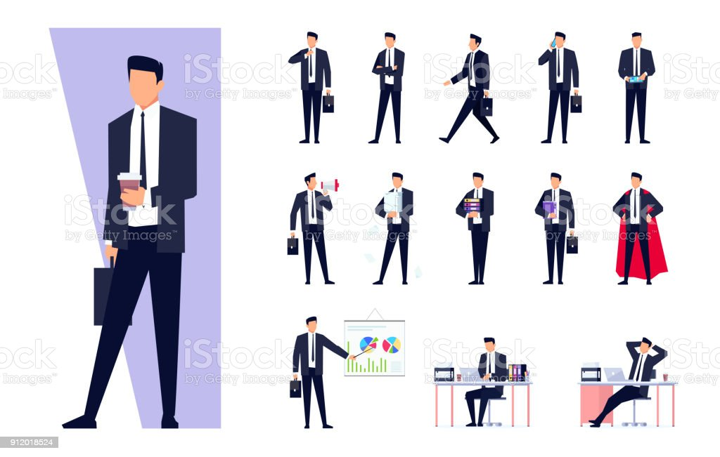 Set of business characters isolated on white background. vector art illustration