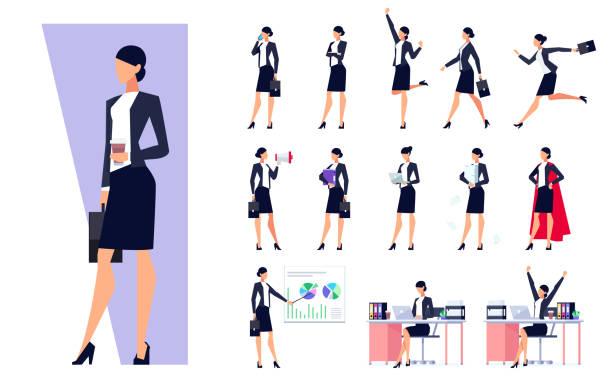illustrazioni stock, clip art, cartoni animati e icone di tendenza di set of business characters isolated on white background. - business woman