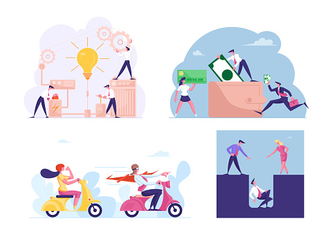 Set of Business Characters Launch Mechanism with Gears and Light Bulb, Man or Woman Riding Scooters, Put Money in Wallet