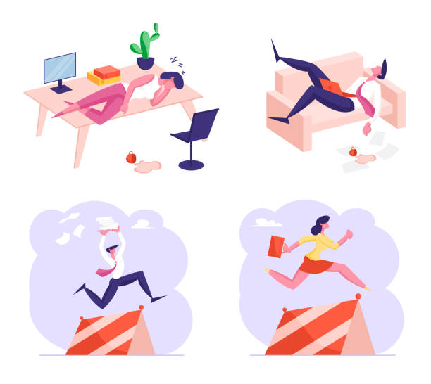 Set of Business Characters Procrastination, Working Burnout and Race with Obstacles. Tired People Sleeping at Workplace Set of Male and Female Business Characters Procrastination, Working Burnout and Race with Obstacles. People Sleeping at Workplace, Colleagues Run and Jumping over Barriers. Cartoon Vector Illustration business clipart stock illustrations
