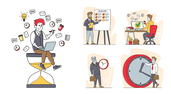 Set of Business Characters Time Management Concept, People with Huge Alarm and Hour Clock, Business Working Process Organization, Lack of Time, Work Productivity, Deadline. Linear Vector Illustration