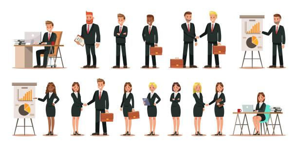 illustrazioni stock, clip art, cartoni animati e icone di tendenza di set di personaggi aziendali che lavorano in ufficio. design dell'illustrazione vettoriale - business man