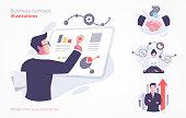 Set of business concept illustration. Modern flat style illustration