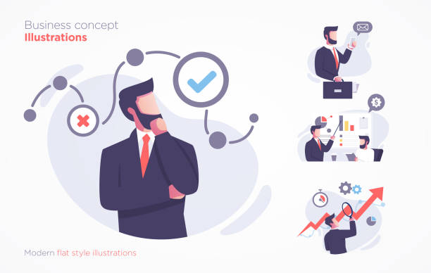 Set of business concept illustration. Modern flat style illustration Set of business concept illustration. Modern flat style vector illustration 外科医 stock illustrations