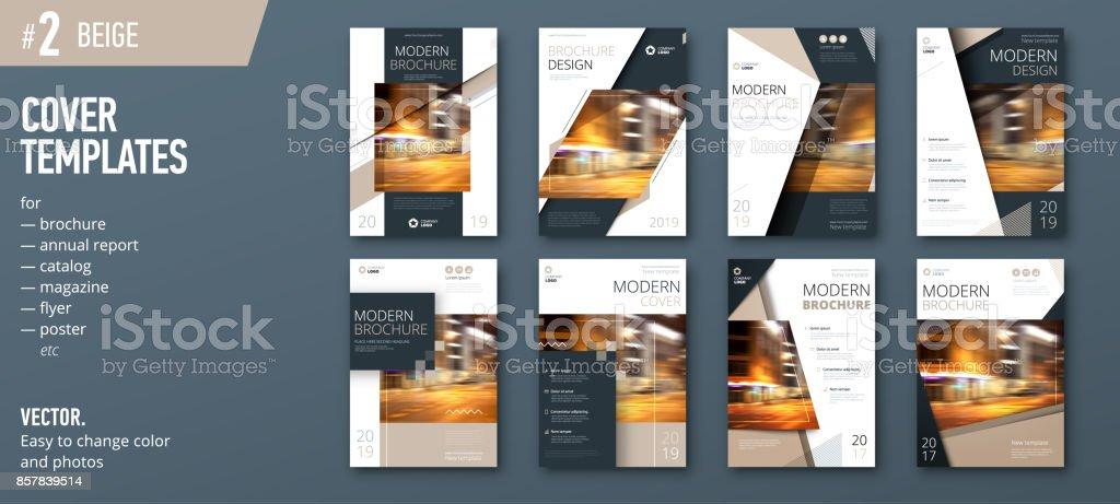 Set of business cover design template for brochure, report, catalog, magazine or booklet. Creative vector background concept. Beige vector art illustration