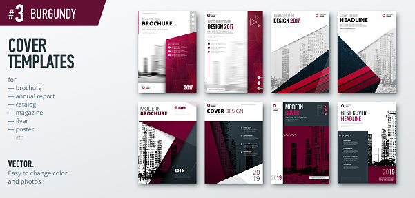 Set of business cover design template for brochure, report, catalog, magazine or booklet. Creative burgundy vector background concept
