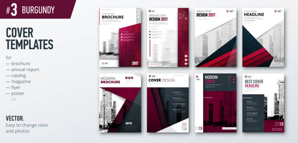 Set of business cover design template for brochure, report, catalog, magazine or booklet. Creative burgundy vector background concept Set of business cover design template for brochure, report, catalog, magazine or booklet. Creative burgundy vector background concept banking drawings stock illustrations
