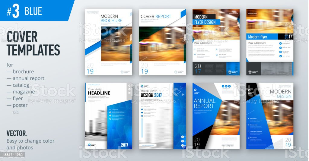 Set of business cover design template in blue color for brochure, report, catalog, magazine or booklet. Creative vector background concept vector art illustration