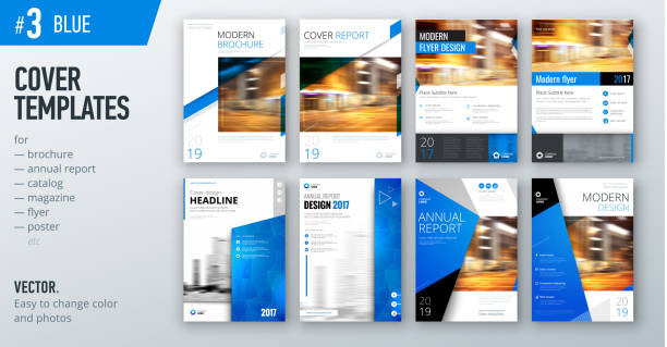 set of business cover design template in blue color for brochure, report, catalog, magazine or booklet. creative vector background concept - annual reports templates stock illustrations
