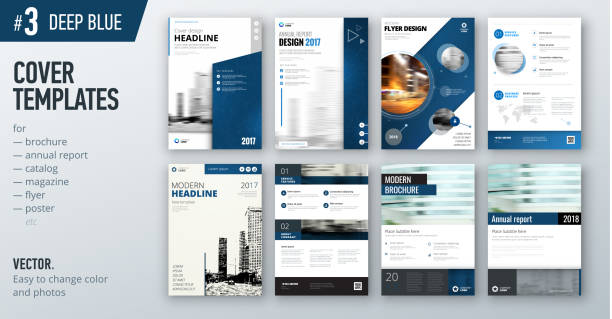 set of business cover design template in dark blue color for brochure, report, catalog, magazine or booklet. creative vector background concept - brochure templates stock illustrations, clip art, cartoons, & icons