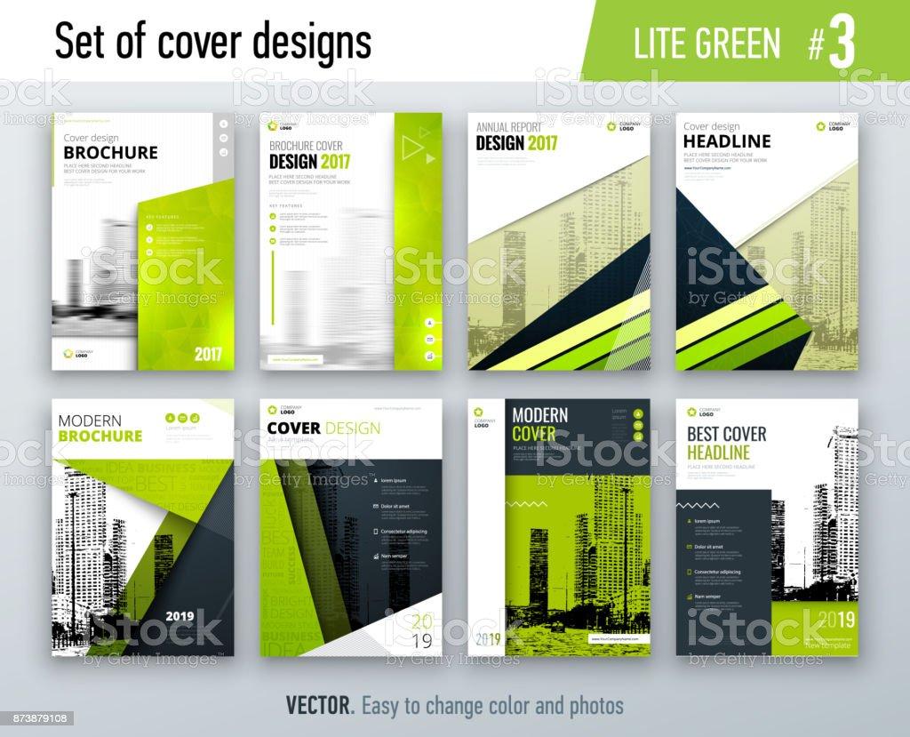Conjunto De Plantilla De Diseño Negocio Cubierta En Color Verde Para ...