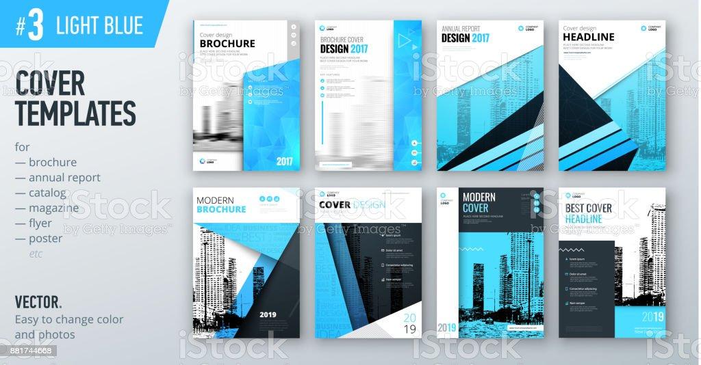 Satz Von Geschäft Abdeckung Designvorlage In Farbe Hellblau Für ...