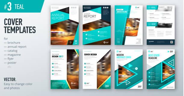 Conjunto de plantilla de diseño negocio cubierta en color verde azulado para folleto, informe, catálogo, revista o folleto. Concepto de fondo vector creativo - ilustración de arte vectorial