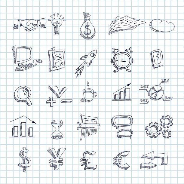 illustrazioni stock, clip art, cartoni animati e icone di tendenza di set di icone finanziarie economiche aziendali disegnate - tetrade