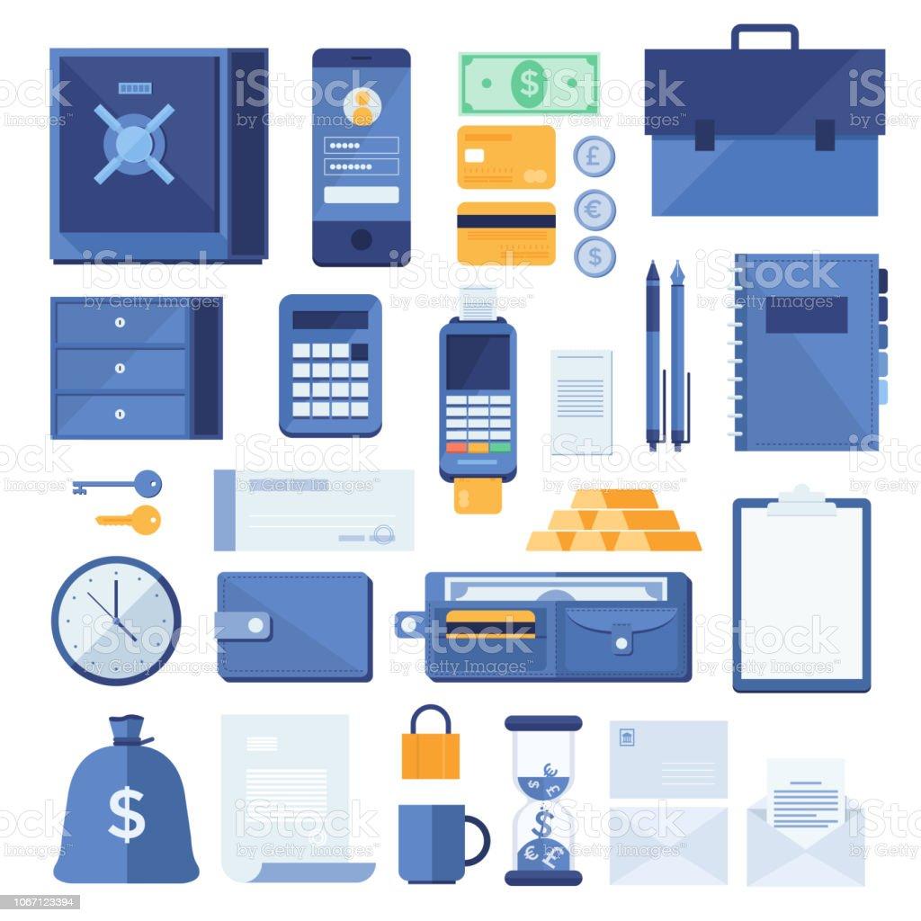 Reihe Von Geschäftlichen Und Finanziellen Elemente Des Prozesses