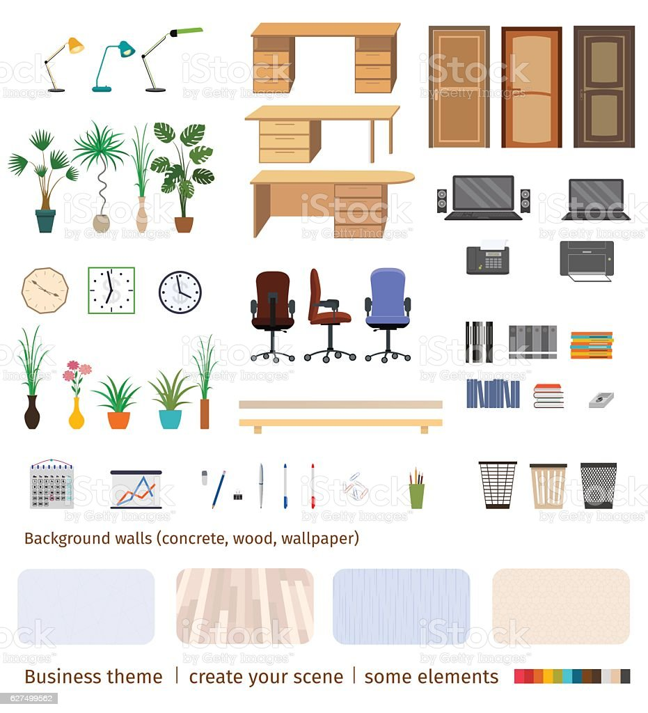 Set of business elements and furniture to create office vector art illustration