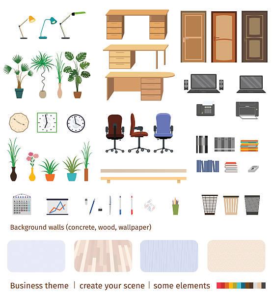 illustrations, cliparts, dessins animés et icônes de set of business elements and furniture to create office - architecture intérieure beton