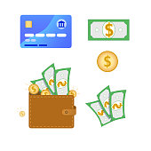 Set of business, finance or money related flat icons. Contain such elements as credit card, wallet full of money, gold coins, green dollar banknote sign. Vector illustration