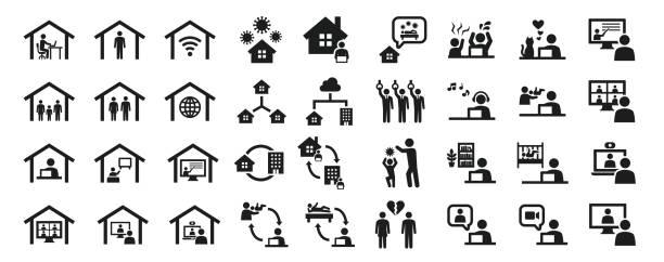 自宅での仕事に関連するビジネスアイコンのセット - 通勤点のイラスト素材/クリップアート素材/マンガ素材/アイコン素材