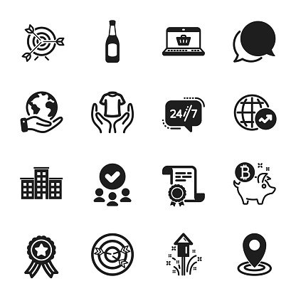 Set of Business icons, such as 24/7 service, Target, Beer. Vector
