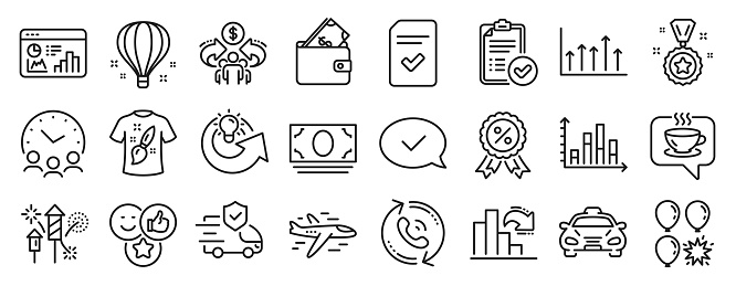 Set of Business icons, such as Approved message, Decreasing graph, Airplane. Vector