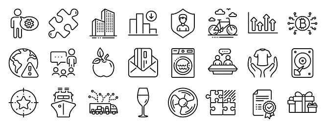Set of Business icons, such as Certificate, Truck delivery, Hdd. Vector